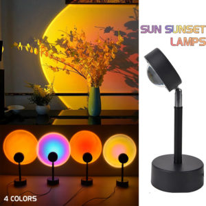 180° Rotation Sunset Projection LED Light Rainbow Sunset Projection Lamp Floor Lighting Lamp Night Light for Home Bedroo