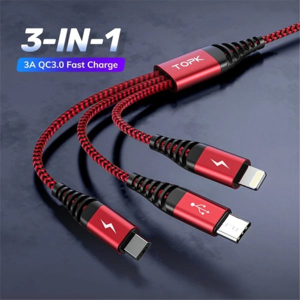 [2Pcs Red] TOPK AN24 3-in-1 Data Cable Fast Charging Data Transmission Cord Line 1.2m long For iPhone 12 XS 11Pro for Sa