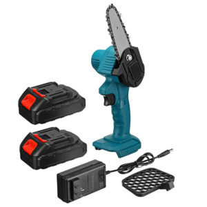 550W 48VF 4'' Mini Cordless One-Hand Electric Chain Saw Woodworking Wood Cutter W/ 2pcs Battery