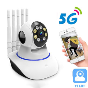 5G 1080P Home Security Camera Dual-band Indoor Smart Wifi Camera 360° Panoramic View Infra Night Vision Moving Detection