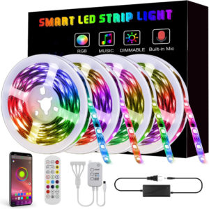 ARILUX® 65.6FT 10M/15M/20M 5050 Smart LED Strip Light Non-waterproof RGB Rope Lamp with bluetooth Music Controller+Remot