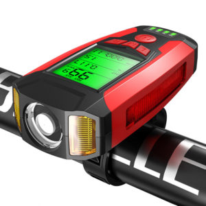 BIKIGHT 3-in-1 350LM COB Bike Light + USB Horn Lamp + Speed Meter LCD Screen 5-Modes Waterproof Bicycle Headlight With H