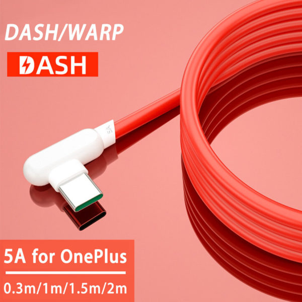 Bakeey 5A USB to Type-C Warp Dash Quick Charging Data Cable 90° Elbow Cord for OnePlus 8 OnePlus 8 Pro