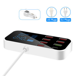 Bakeey 8 Port QC3.0 Multi USB Type C LCD Display Phone Charger Battery Charger USB Hub for Tablets GPS DVR for iPhone 12