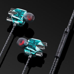 Bakeey A6 Wired Headphones Dual Dynamic 4 Speakers In-Ear Headset Noise Reduction HD Call Wired-Control Earphones with M