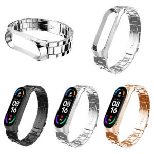 Bakeey Folding Buckle Stainless Steel Watch Band Strap Replacement for Xiaomi Mi Band 6 / Mi Band 5 Non-Original