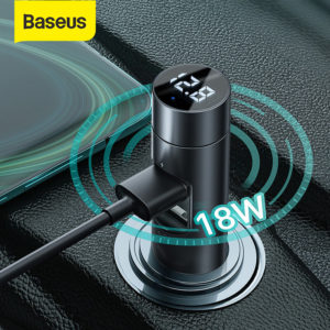 Baseus Car 3.1A PPS Quick Charge Dual USB Charger bluetooth V5.0 FM Transmitter Adapter Modulator Wireless Audio Adapter