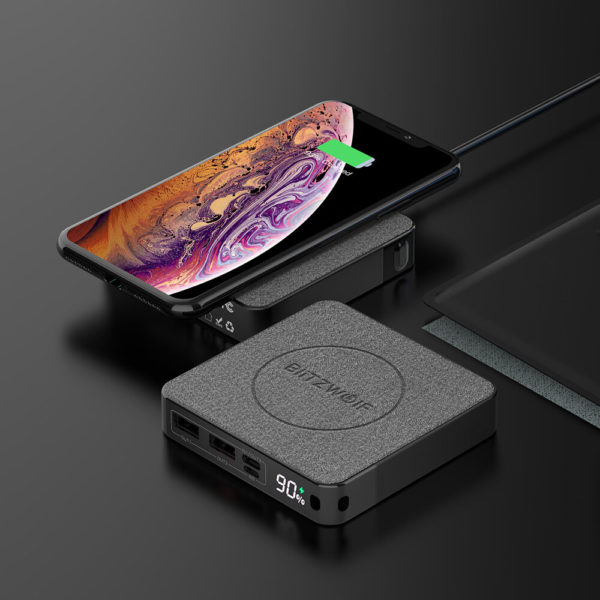 BlitzWolf® BW-P13 LED Display 10000mAh Power Bank QC3.0 & PD3.0 18W+15W Wireless Charger Fabric Surface Multilayered Pro
