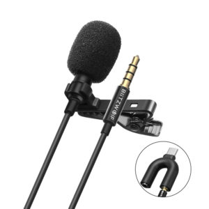 BlitzWolf CM1 Mini 3.5MM Omnidirectional Lavalier Cardioid Microphone HiFi Sound Noise Reduction Mic for YouTuBe Live Br