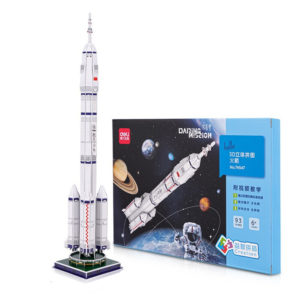 Deli 74547 3D Rocket Model Puzzle DIY Handmade Three-dimensional Design Learning Education Science Assembly Toy Gift for