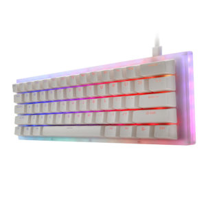 GamaKay K61 61 Keys Mechanical Gaming Keyboard Hot Swappable Type-C 3.1 Wired USB Translucent Glass Base Gateron Switch