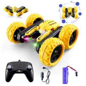S688 Upgraded High Speed RC Stunt Car Toy with Colorful LED Headlights Cool Sound 2 Sided 360 Rotation 800mAh Battery 4W