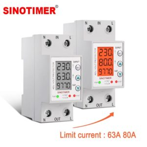 SINOTIMER SVP-977 230V 63A8 0A Home Usage Adjustable Voltage and Current Protector 3in1 Digital LCD Voltage Protection R