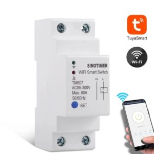 SINOTIMER TM607 Tuya 80A 85-300V Smart WiFi Timer Mobile Phone APP Home Remote Control Timer Countdown Time Switch Work