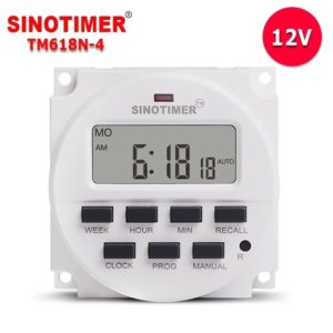 SINOTIMER TM618N-4 12V DC/AC 1.6 inch LCD Digital Timer Electric Controller 7 Days Programmable Time Switch Built-in UL