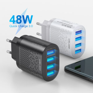 USLION 48W USB Charger Four USB QC3.0 Travel Wall Charger Adapter Quick Charging For iPhone XS 11Pro Max MI10 Note 9S S2