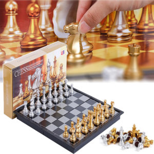 XANES 32PCS Medieval Chess Set With High Quality Chessboard Gold Silver Chess Pieces Magnetic Board Game Chess Figure Se